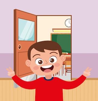 Aluno feliz sorrindo acenando a mão na escola