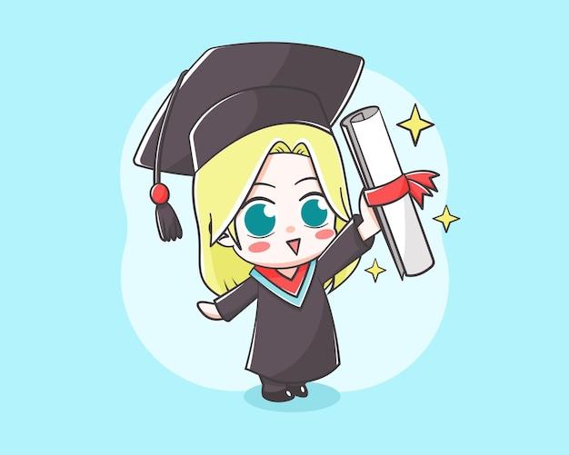 Aluno fofo na ilustração dos desenhos animados do dia da formatura