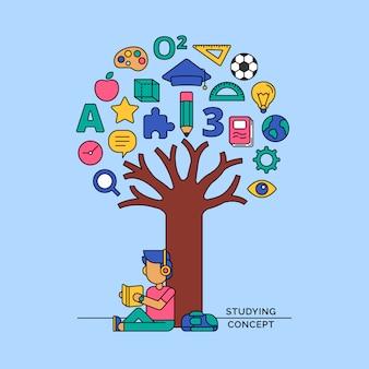 Aluno lendo livro sob a ilustração em vetor árvore ícone conhecimento