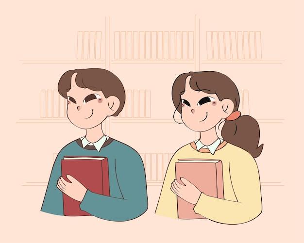 Aluno, menino e menina, segurando um livro, conceito de educação, mão desenhada, estilo, ilustração