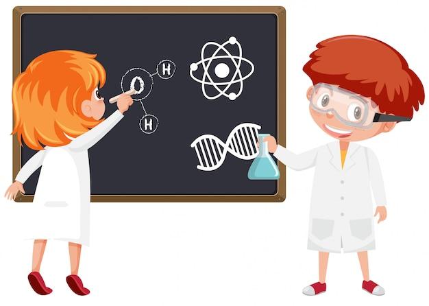 Aluno na sala de aula de ciências