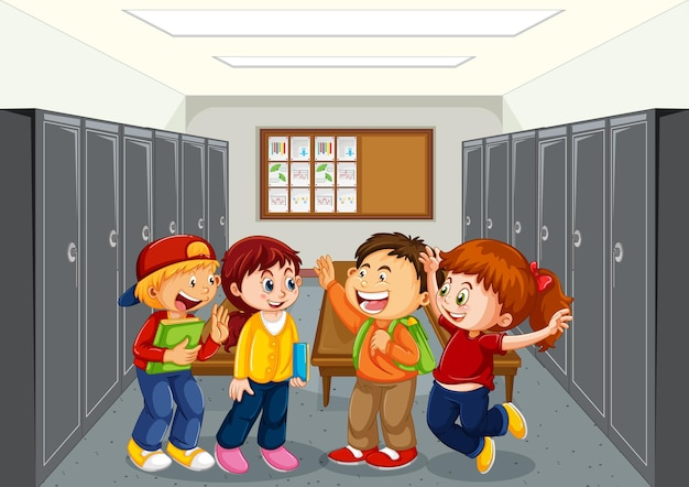 Aluno no corredor da escola