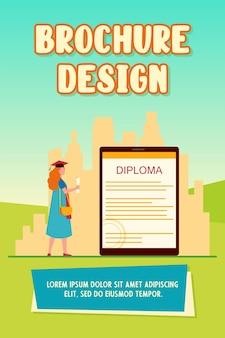 Aluno olhando para o diploma eletrônico na tela do gadget. boné de formatura, vestido, ilustração em vetor plana para tablet