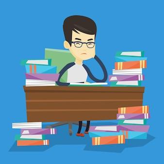 Aluno sentado à mesa com pilhas de livros.
