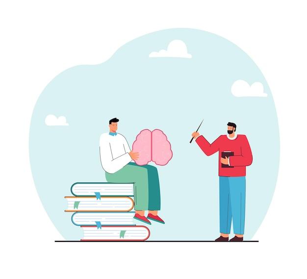 Aluno sentado em livros, estudando a estrutura do cérebro na aula