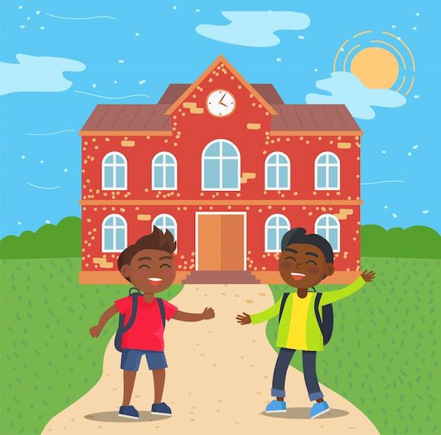 Alunos afro-americanos na frente da escola