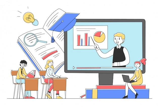Alunos aprendendo curso on-line via computador