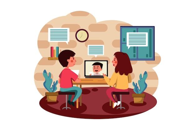 Alunos aprendendo e discutindo com o professor online