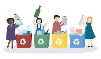 Alunos aprendendo sobre vários materiais recicláveis