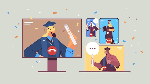 Alunos árabes formados discutindo durante videochamada sobre formandos comemorando diploma acadêmico