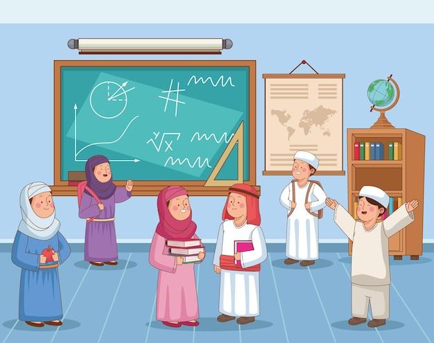 Alunos árabes na sala de aula