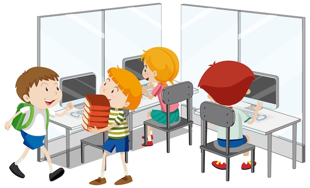 Alunos com elementos de sala de aula de informática