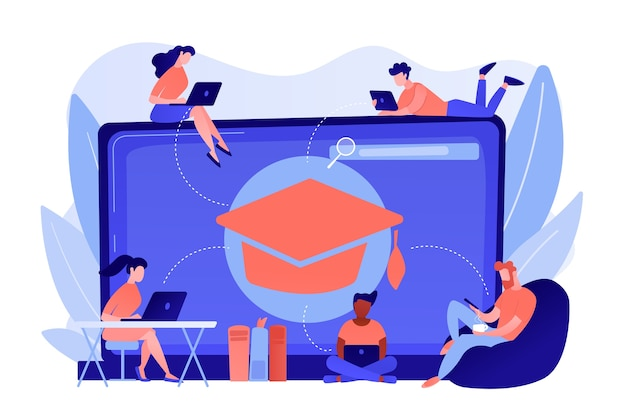 Alunos com laptops estudando e um laptop enorme com chapéu de formatura