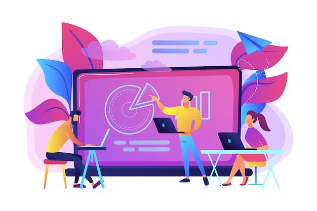 Alunos com laptops sentados ao redor do letor atrás da ilustração do quadro interativo