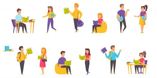 Alunos com livros pessoas personagem plana definida