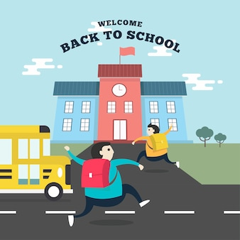 Alunos correndo para a escola.