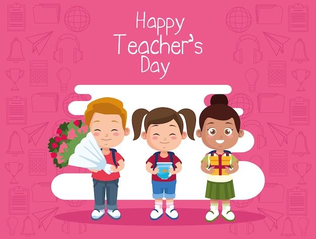 Alunos, crianças e professores, letras de personagens no dia