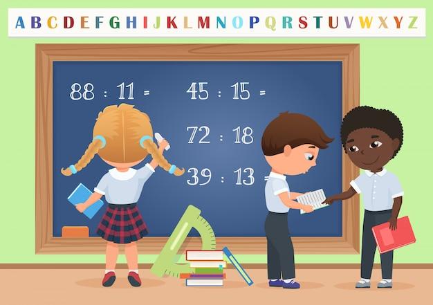 Alunos crianças em sala de aula