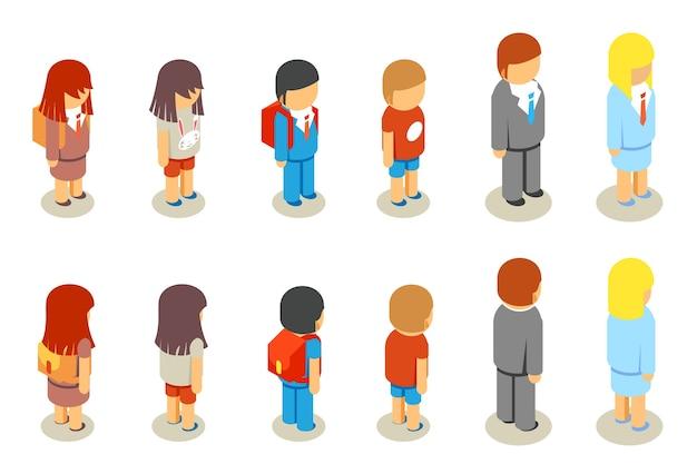 Alunos da escola 3d plana isométrica e professores. pessoas da educação, pessoa humana, mulher e homem,