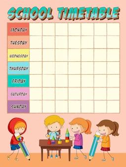 Alunos da escola com horário planejador