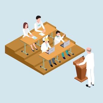 Alunos da escola de medicina e ilustração isométrica do professor
