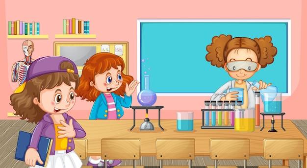 Alunos da escola fazendo experimentos de química na sala de aula