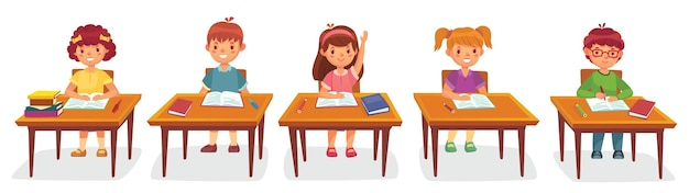 Alunos da escola primária sentam-se à secretária