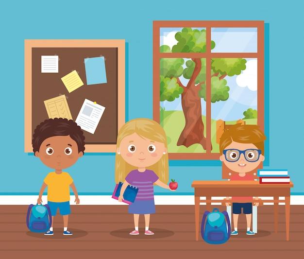 Alunos de crianças com material escolar na sala de aula, volta para ilustração escolar