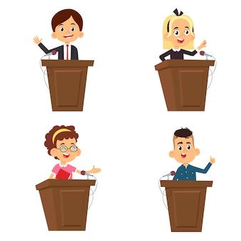 Alunos de desenho animado fazem um discurso em pé no pódio.