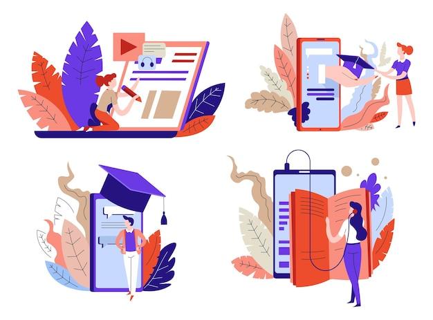 Alunos de educação online com livros e gadgets