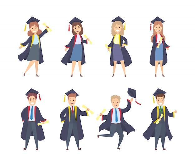 Alunos de graduação conjunto com vestidos, chapéus e diplomas.