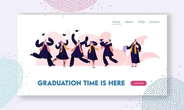 Alunos de graduação em batas e bonés, pulando e se animando, felizes por obter o certificado de diploma e concluir os estudos universitários. modelo de página de destino do site
