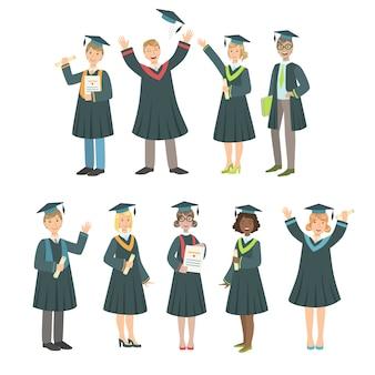 Alunos de graduação em conjunto de manto preto