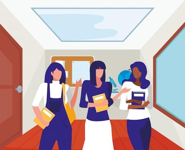 Alunos de meninas dentro da ilustração de sala de aula de escola