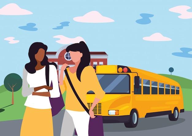 Alunos de meninas na frente da ilustração de ônibus escolar