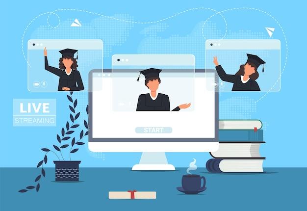 Alunos de pós-graduação em videochamada online vestindo manto na tela do computador