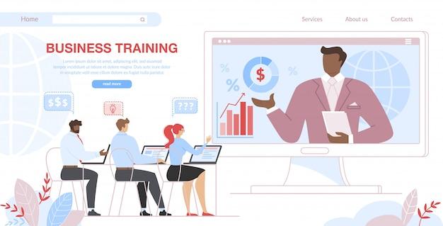 Alunos de treinamento de negócios sentar na tela do computador