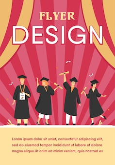 Alunos diversos felizes comemorando a formatura da escola ou faculdades, segurando diplomas e certificados. modelo de folheto