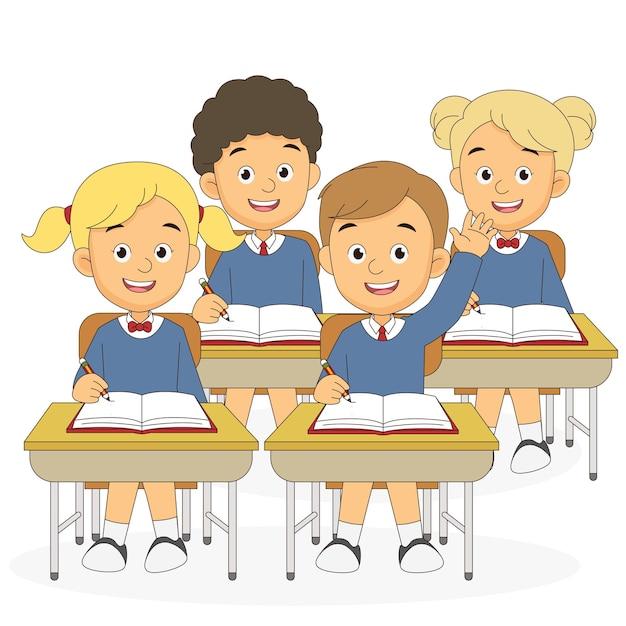 Alunos do desenho animado de volta à escola