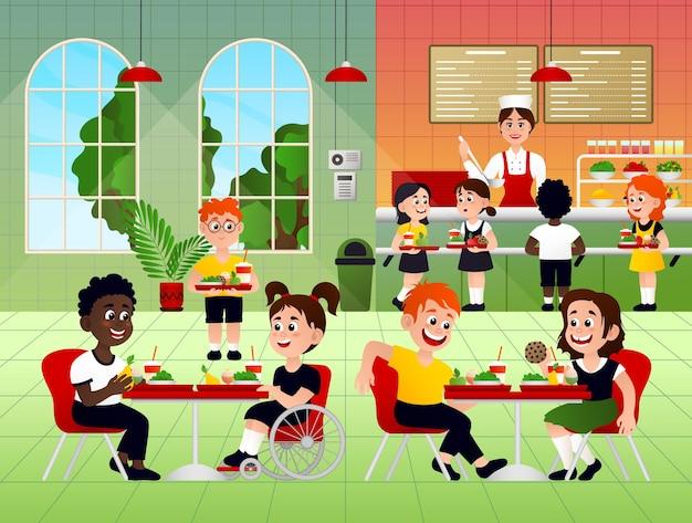 Alunos do ensino fundamental almoçando no refeitório