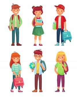 Alunos do ensino médio. crianças com globo, livros e mochila. conjunto de personagens de desenhos animados