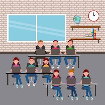 Alunos do grupo em sala de aula usando laptops em mesas de aprendizagem