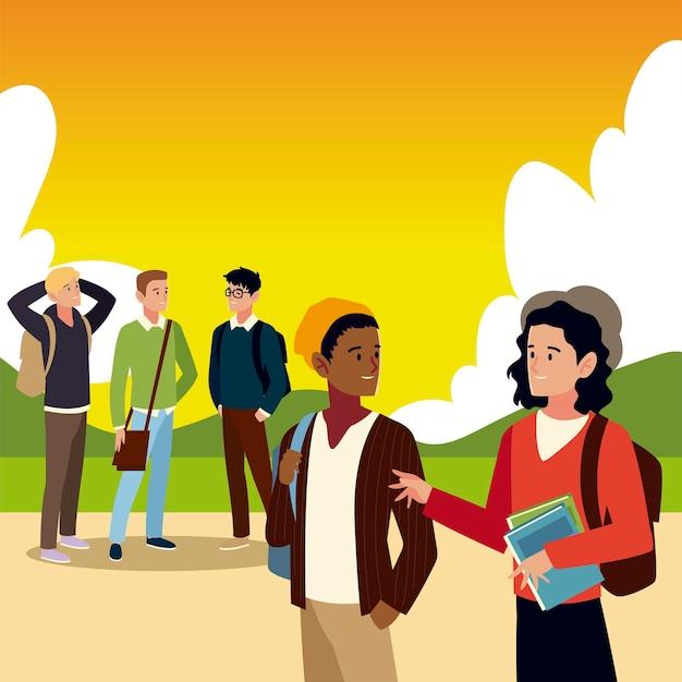 Alunos do sexo masculino com livros e bolsas ao ar livre.