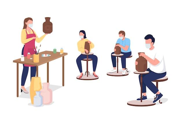 Alunos e professor da oficina de cerâmica em personagens sem rosto de vetor de cores planas de máscaras faciais. aula de artesanato durante a epidemia isolada de ilustração de desenhos animados para design gráfico e animação na web