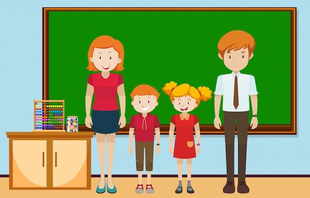 Alunos e professores na sala de aula