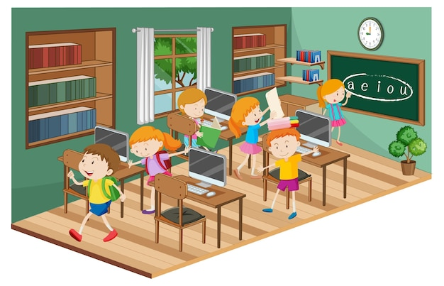 Alunos em sala de aula com muitos computadores