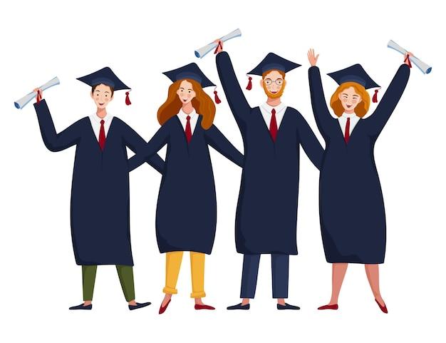 Alunos em trajes acadêmicos e bonés de formatura com diplomas