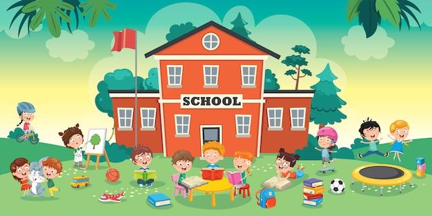 Alunos engraçados e prédio da escola