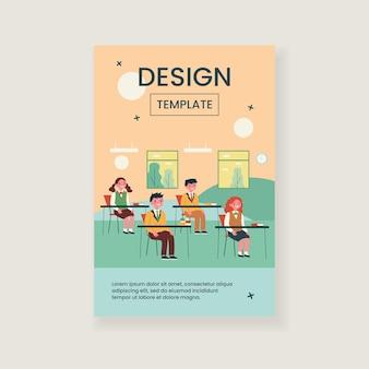 Alunos estudando em sala de aula isolada ilustração plana