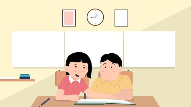 Alunos estudando em sala de aula